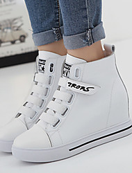 Women's Sneakers Fall Winter Comfort Nappa Leather Casual Wedge Heel Magic Tape Black White Others