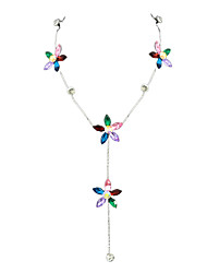 Fashion Colorful Rhinestone Flower Long Necklace for Women