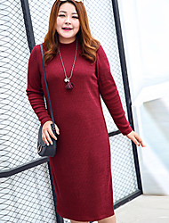 MsShe Women's Casual / Plus Size / Going out Vintage / Simple Shift / Sheath DressSolid Round Neck Midi Long Sleeve Red / Black Polyester