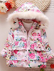 Girl's Cotton Winter Fashion Casual/Daily Floral Print Fur Trim Thicken Keep Warm Hoodie Cotton-Padded Coat