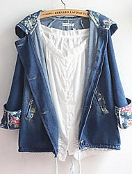 Women's Casual/Daily Simple Denim Jackets,Solid Shirt Collar Long Sleeve All Seasons Blue Cotton Medium