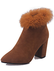 Women's Boots Winter Comfort Suede Casual Chunky Heel Black Yellow Gray