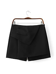 Women's A Line Solid Skirts,Going out / Casual/Daily Simple Mid Rise Mini Zipper Rayon / Polyester Inelastic Fall / Winter