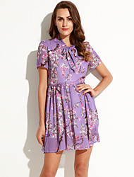 Women's Vintage Print A Line Dress,Bow Above Knee Polyester