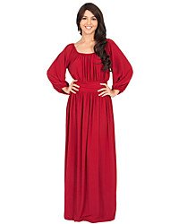 Women's Casual / Plus Size Solid / Simple Sheath DressSolid Pleated Fashion Sexy Round Neck Maxi Long Sleeve Spring