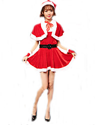 Cosplay Costumes Santa Suits Movie Cosplay Red Solid Dress / Shawl / Belt / Hats Christmas Female Polyester