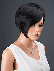 Short Asymmetric Srtraight Bobs Side Bang Synthetic Wig