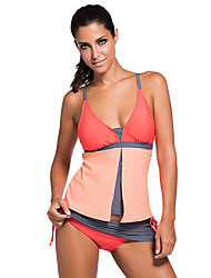 Women's Sporty Colorblock Tankini Skort Bottom Swimsuit
