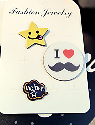 1 Set Cute Yellow Star I love Mustache  Pin Brooch Set Fashion Jewelry for Men/Women(Random Style)