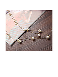 Women's Long Necklace Pearl Alloy Geometric Imitation Pearl Fashion Jewelry For Daily Casual