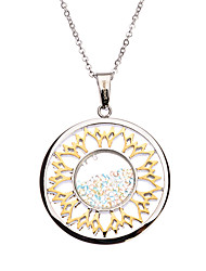 Fashion Color Rhinestone Inlay Titanium Steel Pendant Necklace