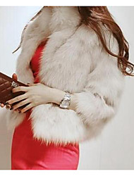 Women's Casual/Daily Simple Fur Coat,Solid ¾ Sleeve White / Black Faux Fur