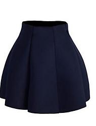 Damen Röcke,A-Linie einfarbig Rüsche,Lässig/Alltäglich / Ausgehen Niedlich / Einfach Hohe Hüfthöhe Mini Elastizität Kunstseide