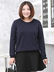Women's Casual/Daily / Plus Size Simple Regular Pullover,Solid Blue Round Neck Long Sleeve Wool / Acrylic Fall / Winter Medium