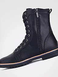 Men's Boots Winter Comfort PU Casual Low Heel Lace-up Black Brown Other