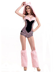 Cosplay Costumes Animal / Cosplay Movie Cosplay Pink Leopard Leotard/Onesie / Hat Halloween / Carnival Female Polyester