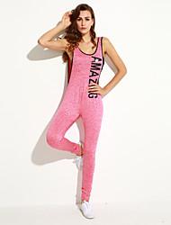 Women's Plunging V Back Letter Print Sleeveless Jumpsuit