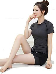 Corrida Camiseta Mulheres Manga Curta Respirável / Secagem Rápida / Confortável Náilon Chinês Ioga / Exercicio e Fitness / CorridaWear