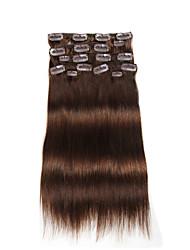 9pcs / set clipe de 120g de luxo em extensões do cabelo do cabelo humano de 16 polegadas 20 polegadas 100% reta castanho médio para as mulheres
