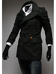 Men's Casual/Daily / Work Simple Trench Coat,Solid Shirt Collar Long Sleeve All Seasons Blue / Black Wool Medium