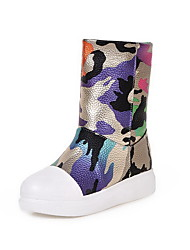 Women's Pull-on Round Closed Toe Low-Heels PU Low-top Boots