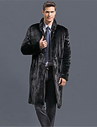 Men's Plus Size Street chic Fur Coat,Solid Stand Long Sleeve Winter Black Faux Fur Thick