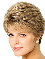 Capless Short Bobo Side Bang Kinky Straight Synthetic Wigs for Women Blonde Heat Resistant with Free Hair Net
