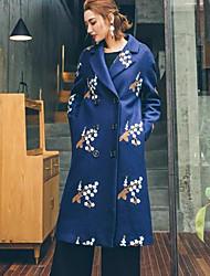 Feminino Casaco Festa/Coquetel / Informal Moda de Rua / Sofisticado Todas as Estações,Estampado Colorido Lã / Algodão Colarinho de Camisa-