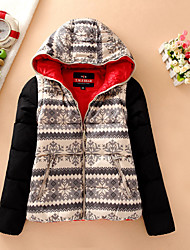 Women's Short Down Coat,Simple Casual/Daily Patchwork-Polyester White Goose Down Long Sleeve Hooded Black
