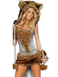 Costumes de Cosplay Costumes de père noël Fête / Célébration Déguisement Halloween Marron Mosaïque Robe / Plus d'accessoires Noël Féminin