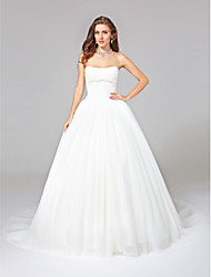 LAN TING BRIDE Ball Gown Wedding Dress - Glamorous & Dramatic Open Back Chapel Train Strapless Tulle with Appliques