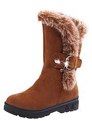 Women's Boots Winter Comfort Sheepskin Casual Flat Heel Black Burgundy Camel