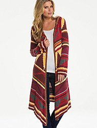 Women's Going out / Casual/Daily Vintage / Street chic Flannel All Match JacketsPrint Hooded Long Sleeve Spring / Fall Medium