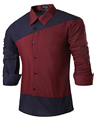 Men's Casual/Daily Simple Shirt,Color Block Square Neck Long Sleeve Blue / Red / Black Cotton
