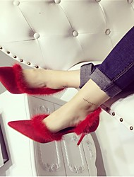 Women's Heels Fall Winter Others Suede Wedding Casual Black Red