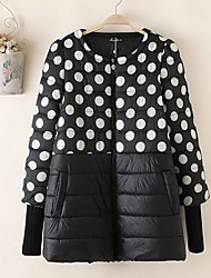 Women's Short Padded Coat,Simple Casual/Daily Polka Dot-Cotton Polypropylene Long Sleeve Round Neck