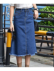 Women's A Line Solid Denim Skirts,Casual/Daily Cute Mid Rise Midi Zipper Cotton Micro-elastic Summer