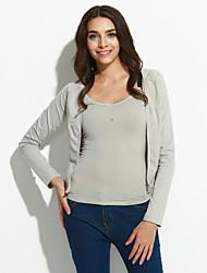 Damen Strickjacke-Ausgehen Einfach Solide Langarm Baumwolle Dünn