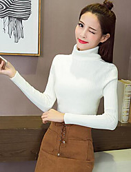 Normal Cardigan Femme Décontracté / Quotidien simple,Couleur Pleine Blanc Noir Vert Col Roulé Manches Longues Fausse FourrureAutomne