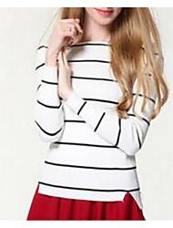Damen Standard Pullover-Ausgehen Einfach Solide Gestreift Rosa Weiß Bateau Langarm Baumwolle Frühling Mittel Dehnbar