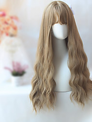 26inch Long Wavy Hair With Bangs For Women Heat Resistant Synthetic Black Brown U Part Harajuku Lolita Wig Light Brown Color Hair