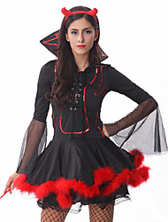 Cosplay Costumes Angel/Devil / Pirate / Cosplay Movie Cosplay Black Solid Dress / Headwear Halloween / Carnival Female Polyester