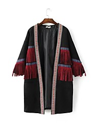 Women's Going out / Casual/Daily Simple / Street chic Trench Coat,Embroidered Halter Long Sleeve Fall / Winter Multi-color Cotton Medium