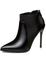 Women's Boots Winter Comfort Leatherette Dress Stiletto Heel Zipper Black