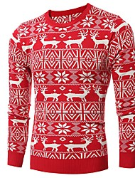 Men's Going out Casual/Daily Work Club Simple Cute Street chic Regular Pullover,Print Round Neck Long Sleeve Wool Cotton PolyesterFall