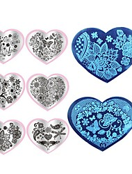 1pcs  Manicure Printing Plate Template DIY Blue Nail Printing Film Love