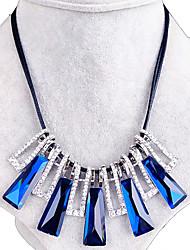Feminino Colarinho Cristal Gema Forma Geométrica Strass Moda Europeu Preto Cinzento Azul Real Jóias Para Casamento Festa Diário 1peça