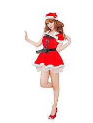 Costumes de Cosplay Fête / Célébration Déguisement Halloween Rouge Couleur Pleine Jupe / Ceinture / Fabrication CAP Noël Féminin
