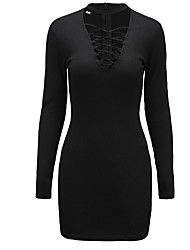 Women's Casual/Daily Sexy A Line DressSolid Turtleneck Above Knee Long Sleeve Red / Black Polyester