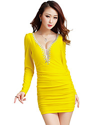 Women's Casual/Daily Simple Bodycon / Sheath Dress,Solid V Neck Above Knee Long Sleeve Multi-color Cotton / Polyester Spring / FallMid